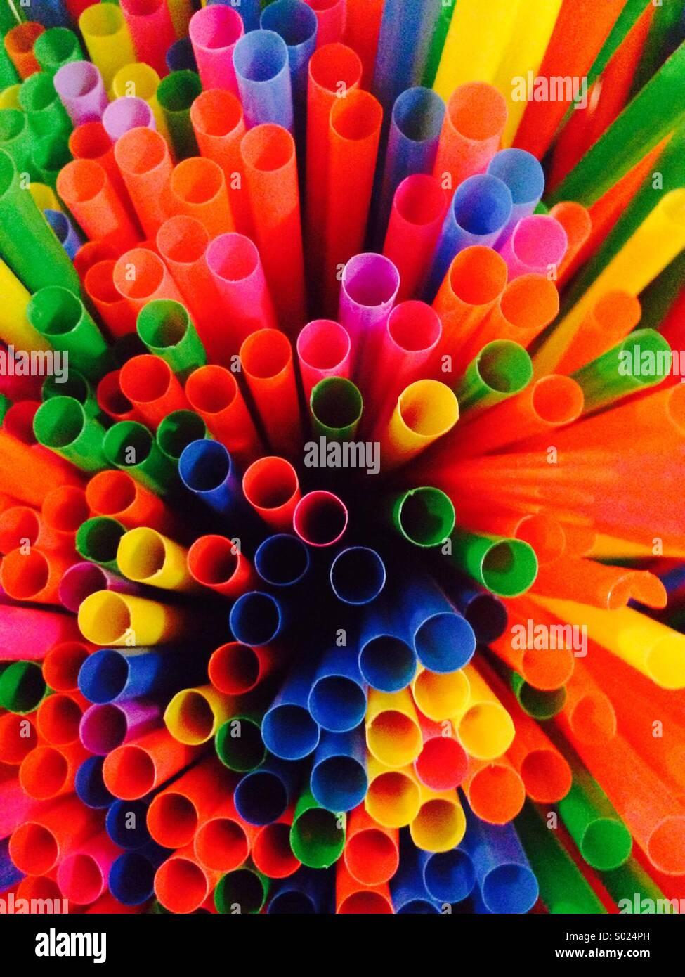 Pailles de couleurs dofferent Photo Stock