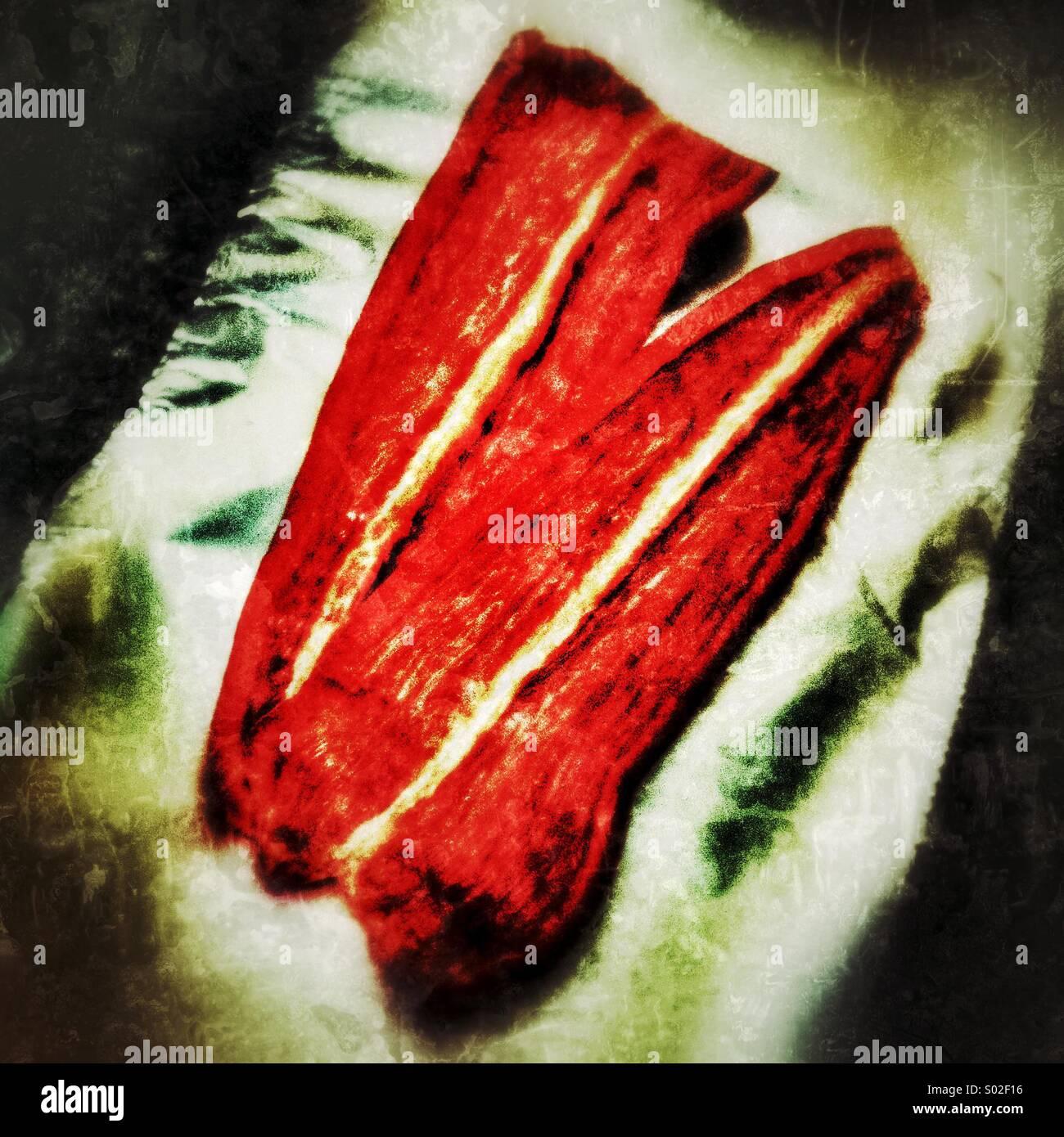 Les moitiés de poivron rouge Photo Stock