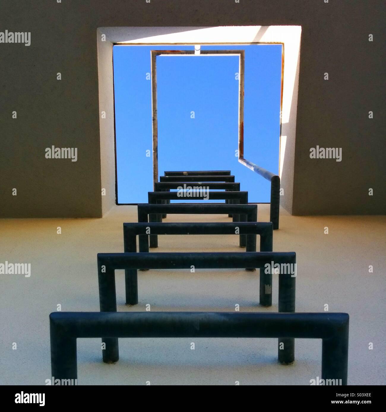 Échelle d'accès au toit Photo Stock