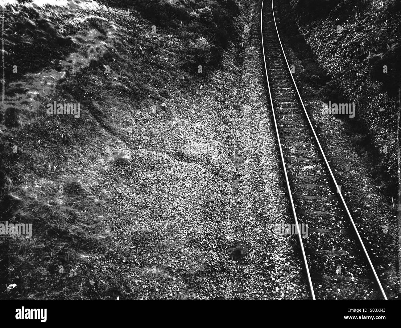 Les voies ferroviaires en noir et blanc Photo Stock