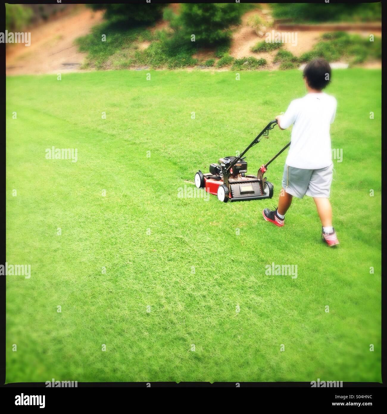 Petit garçon coupé de l'herbe Banque D'Images