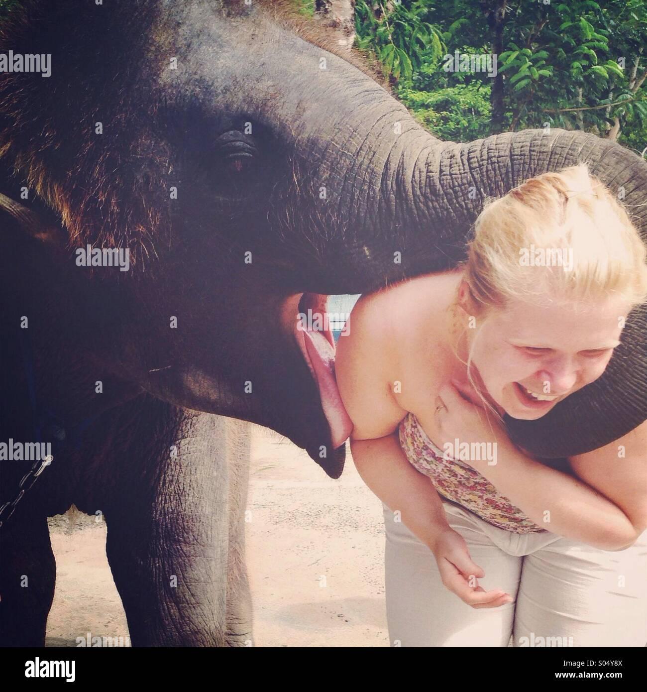 Femme d'être embrassé par un éléphant Photo Stock