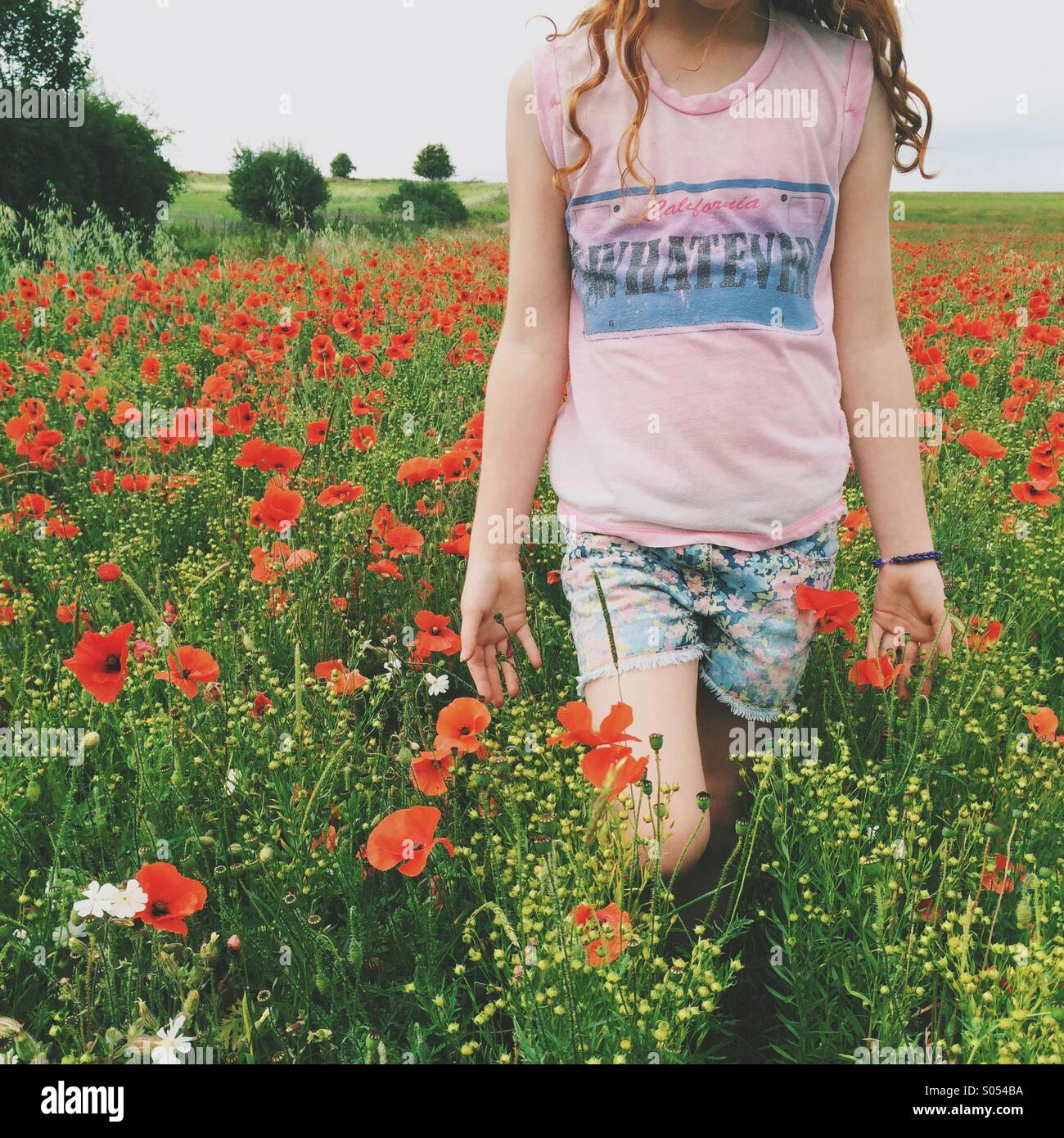 Fille qui marche à travers un champ de coquelicots Photo Stock