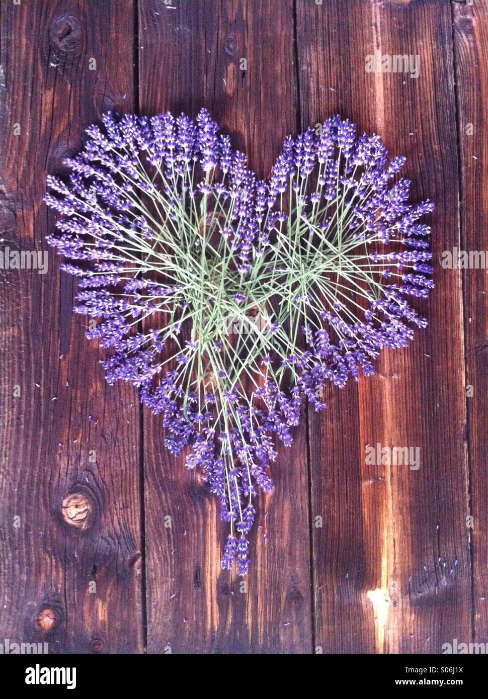 Coeur lavande foncé sur fond de bois Photo Stock