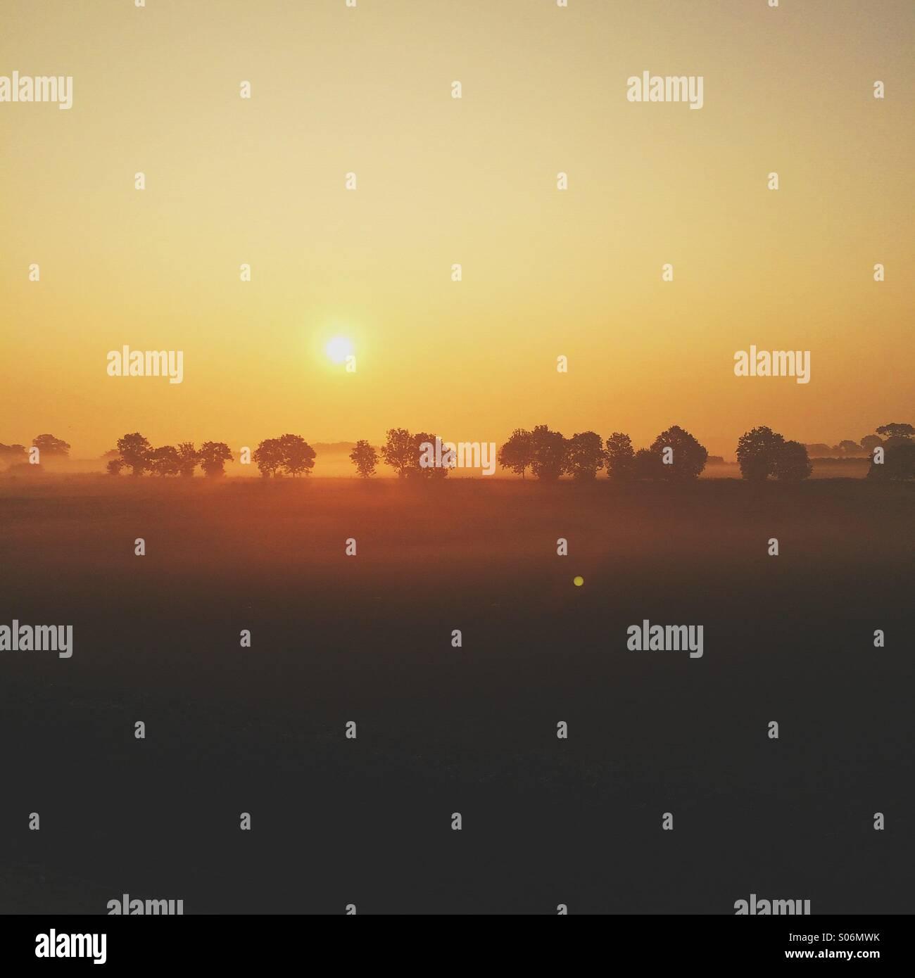 Lever du soleil sur un matin brumeux Photo Stock
