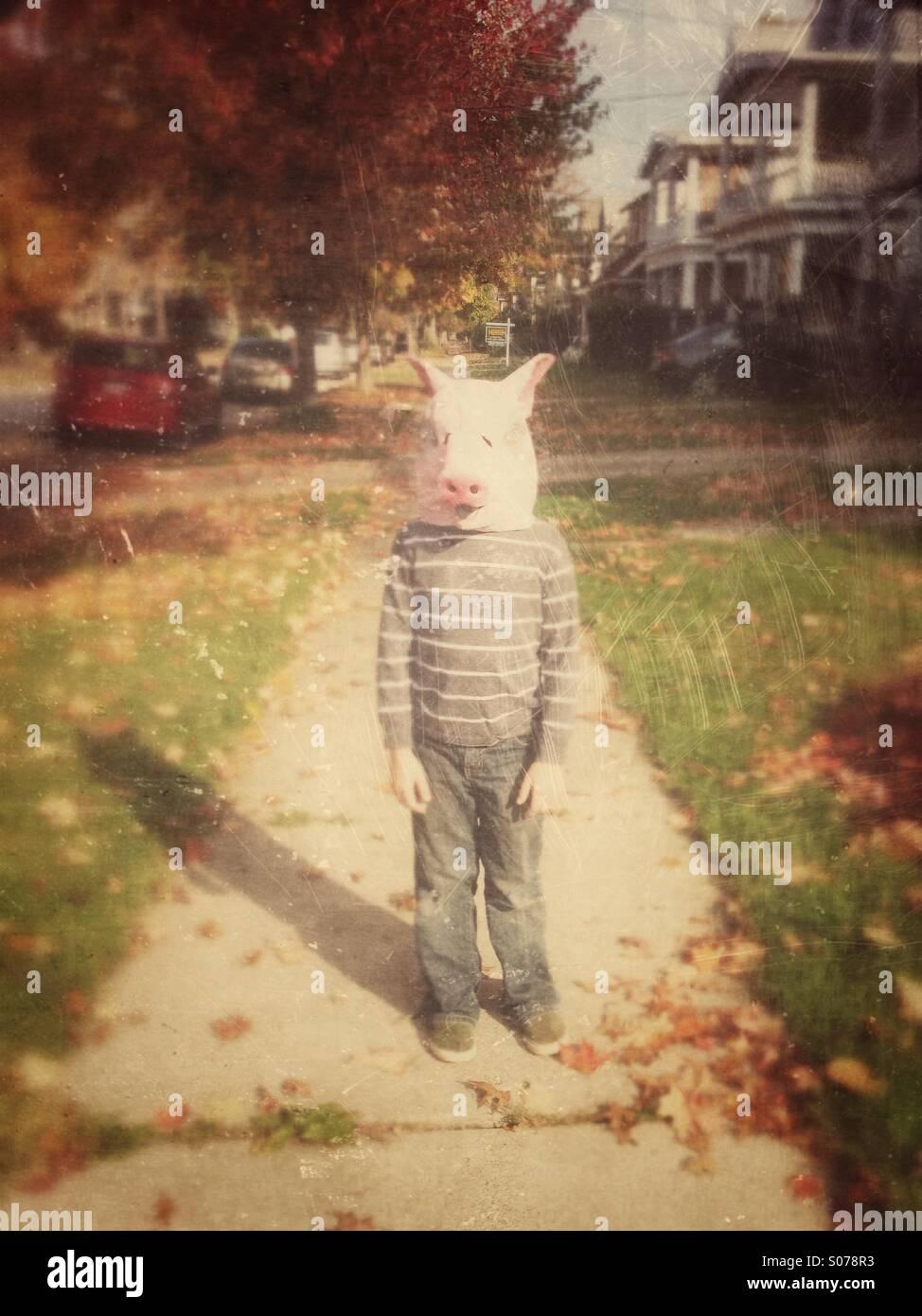 Boy in pig mask on sidewalk Photo Stock