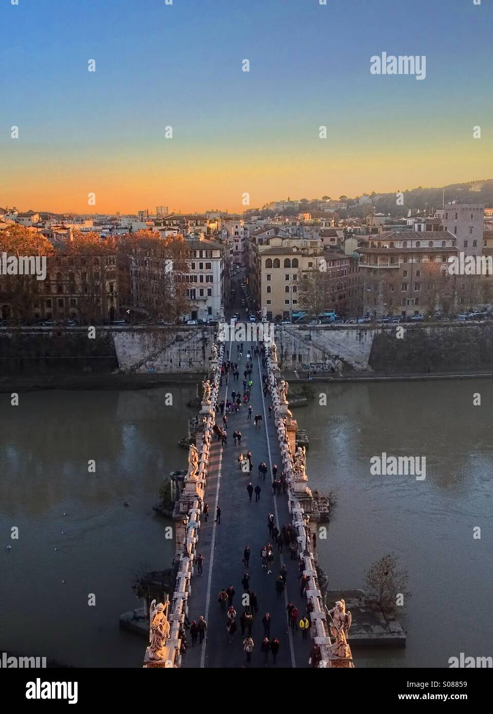 Pont Sant'Angelo, Rome Photo Stock