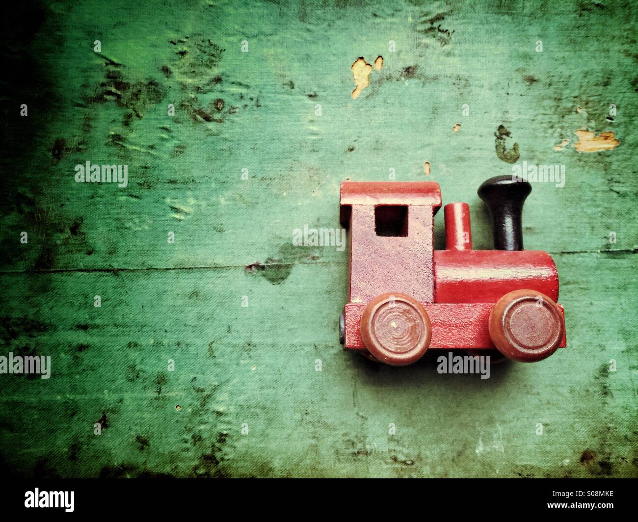 Vintage toy train en bois Photo Stock