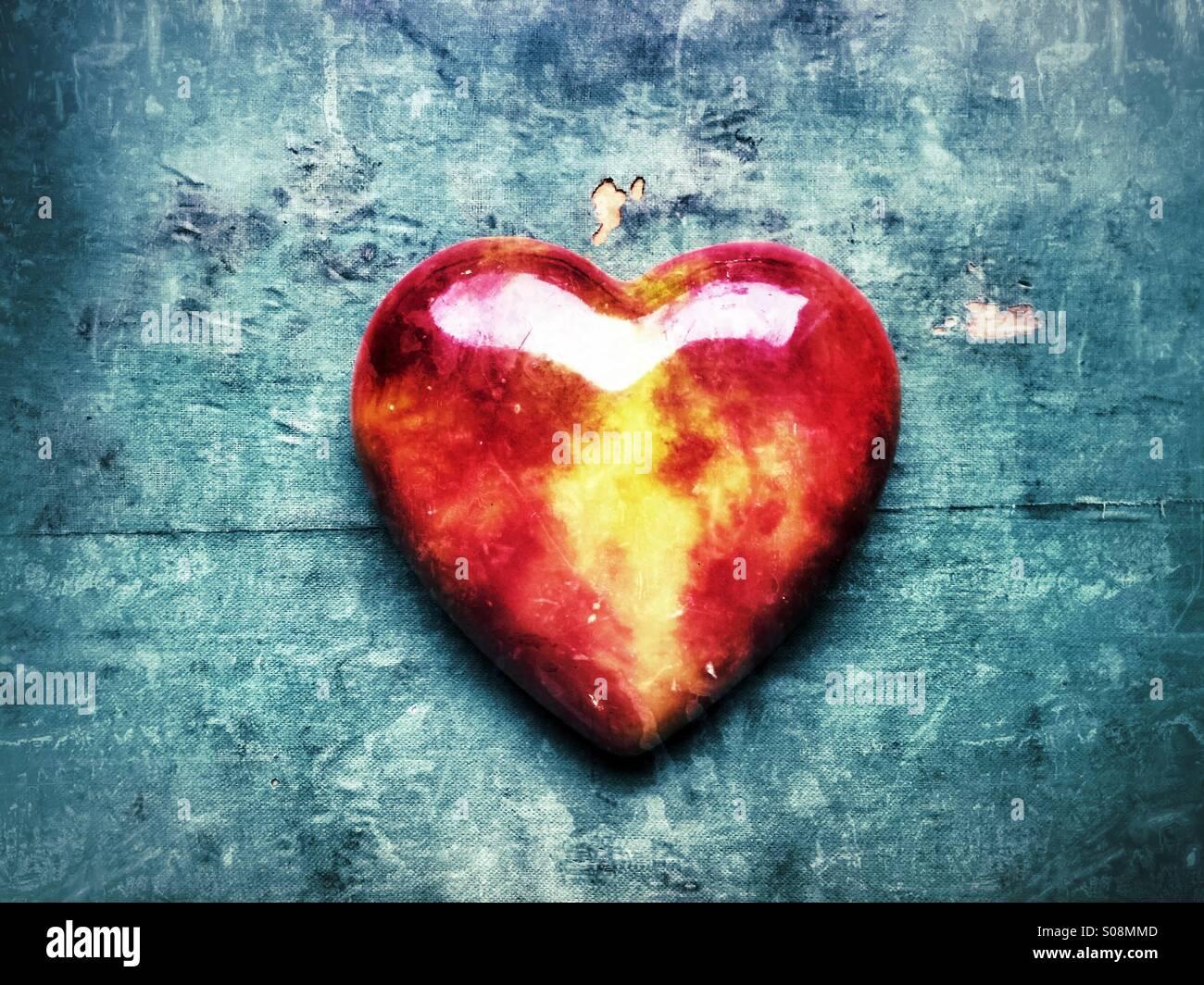 Coeur de verre rouge Photo Stock
