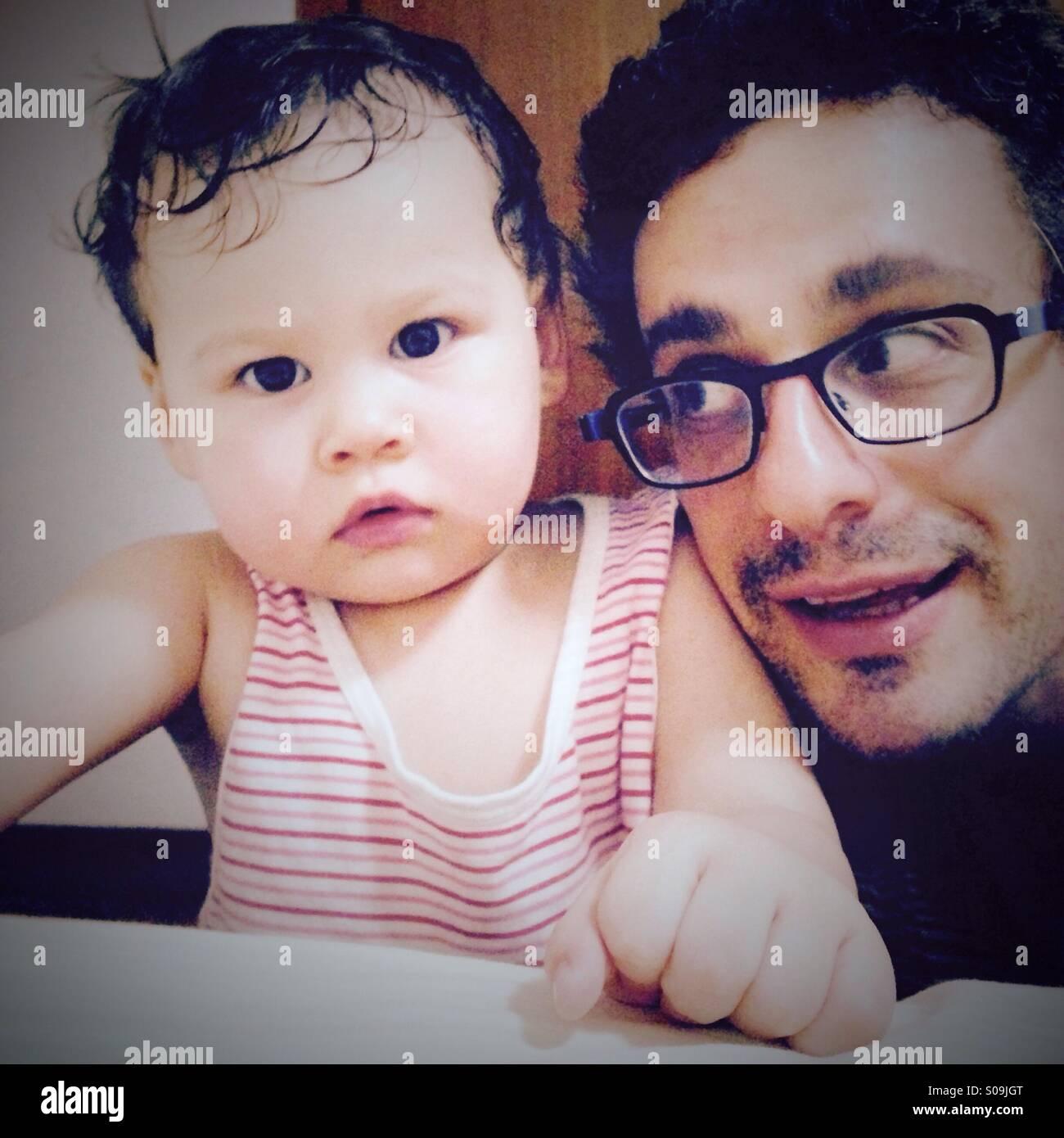 Père et fille auto-portrait Photo Stock