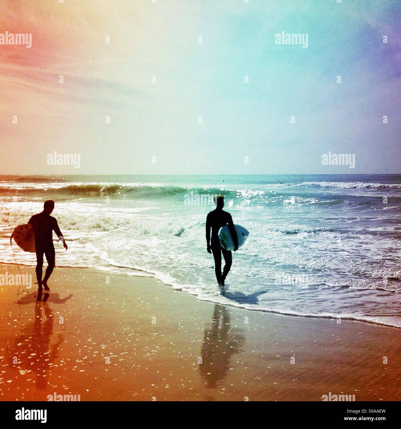 Deux surfeurs. Photo Stock