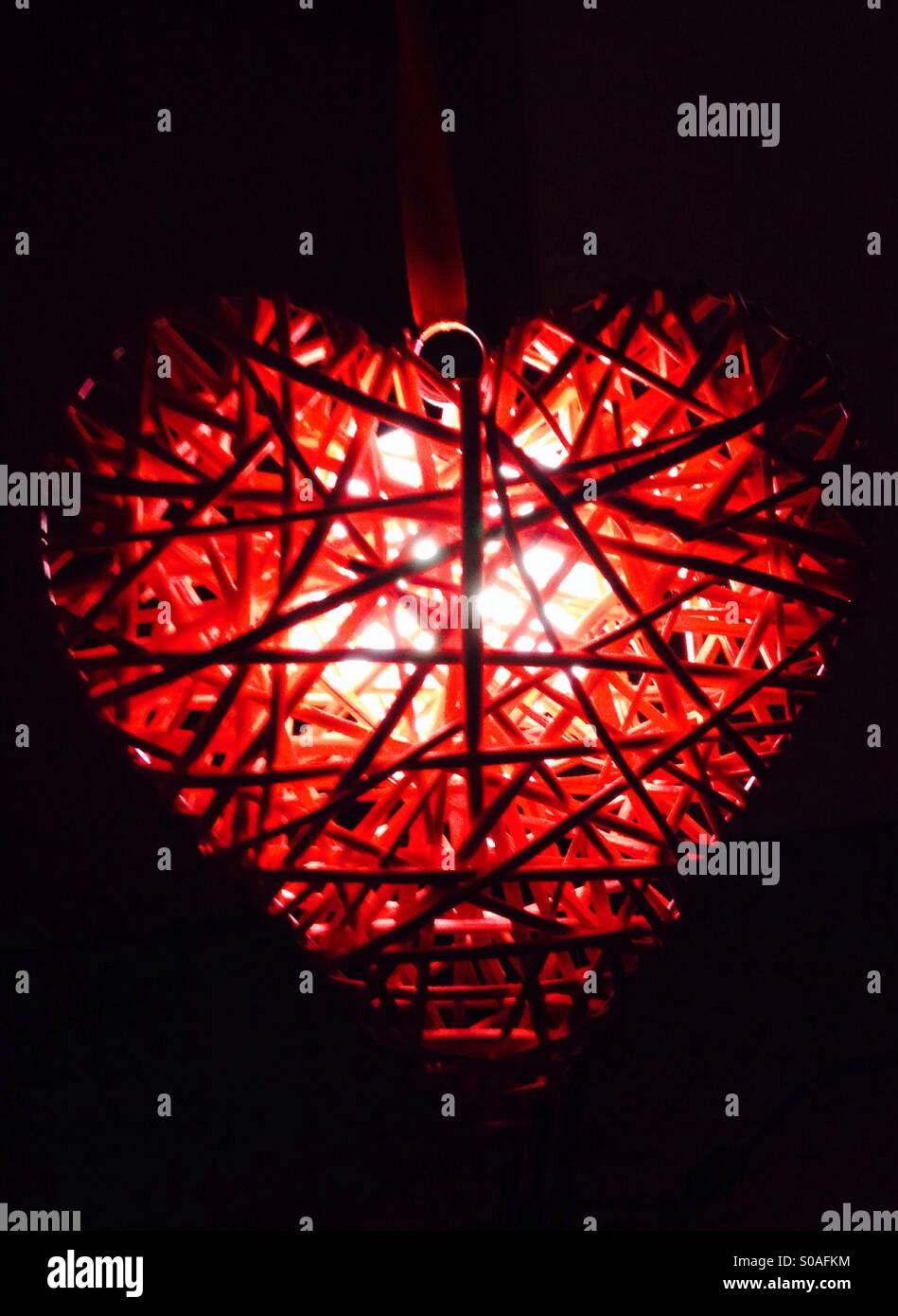 Lumière en forme de coeur Photo Stock