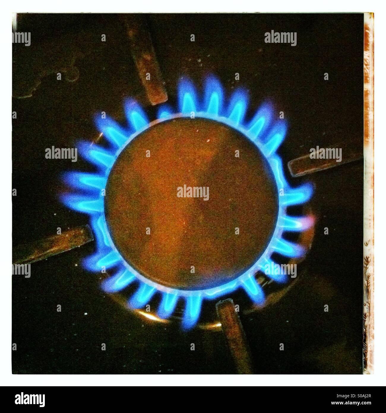 L'anneau de gaz sur la cuisinière. Photo Stock