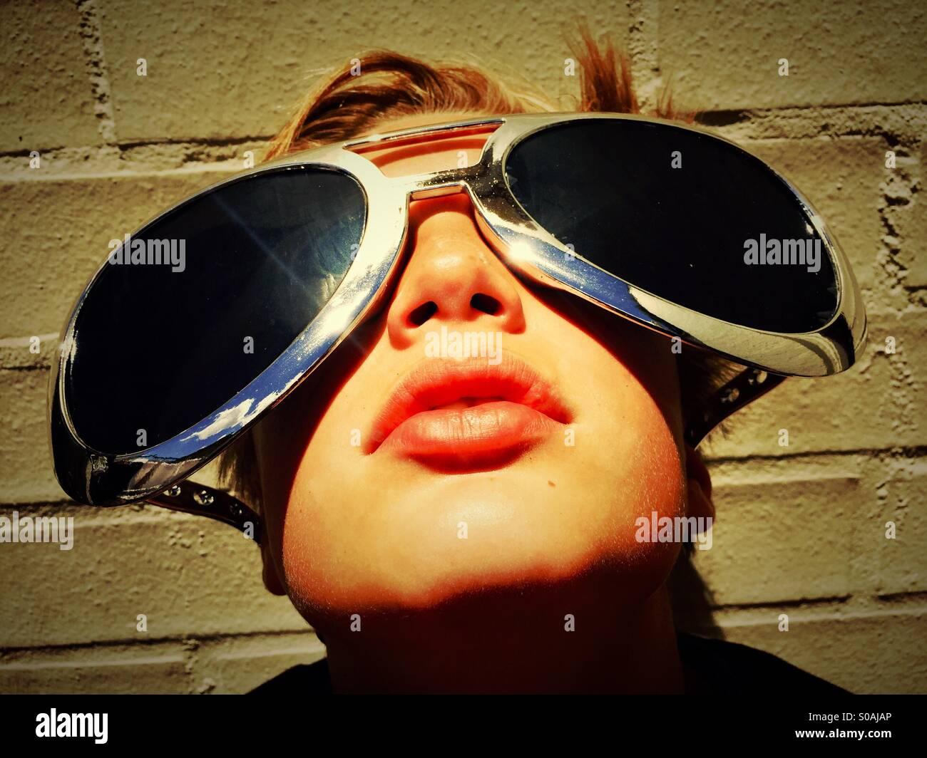 Garçon aux lunettes massive Photo Stock