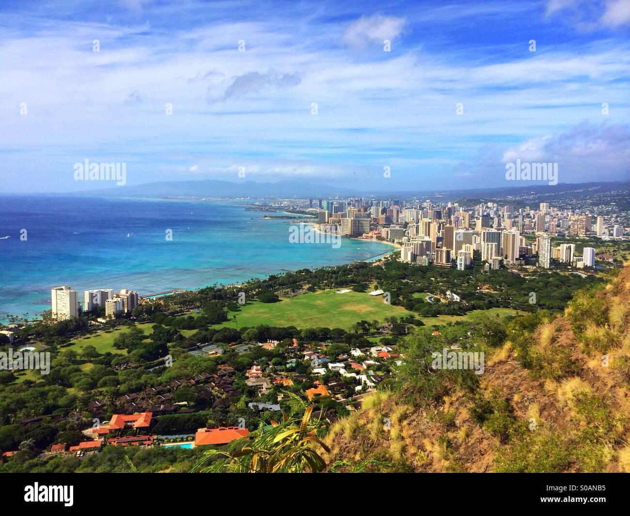 Photos prises le Cratère de Diamond Head, Oahu Photo Stock