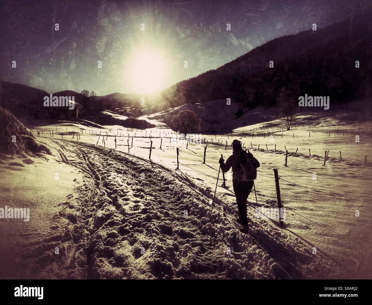 Ski de fond suivant un passage dans la neige. Photo Stock