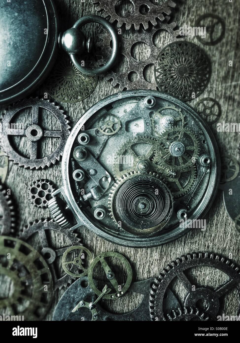 Les montres de poche et des engrenages. Photo Stock