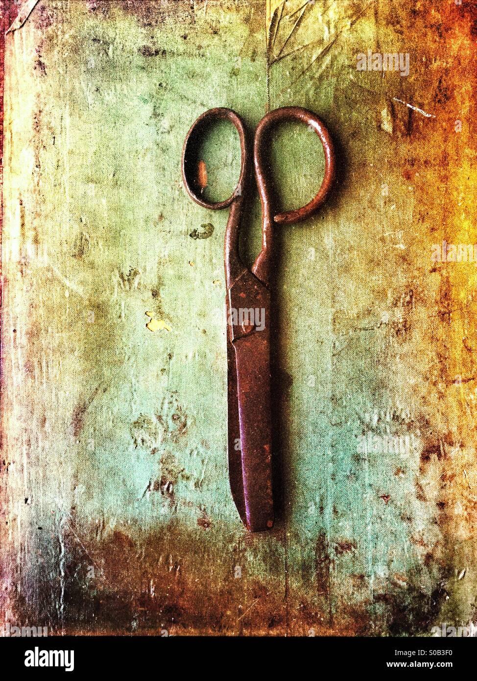 Vieux ciseaux rouillés Photo Stock