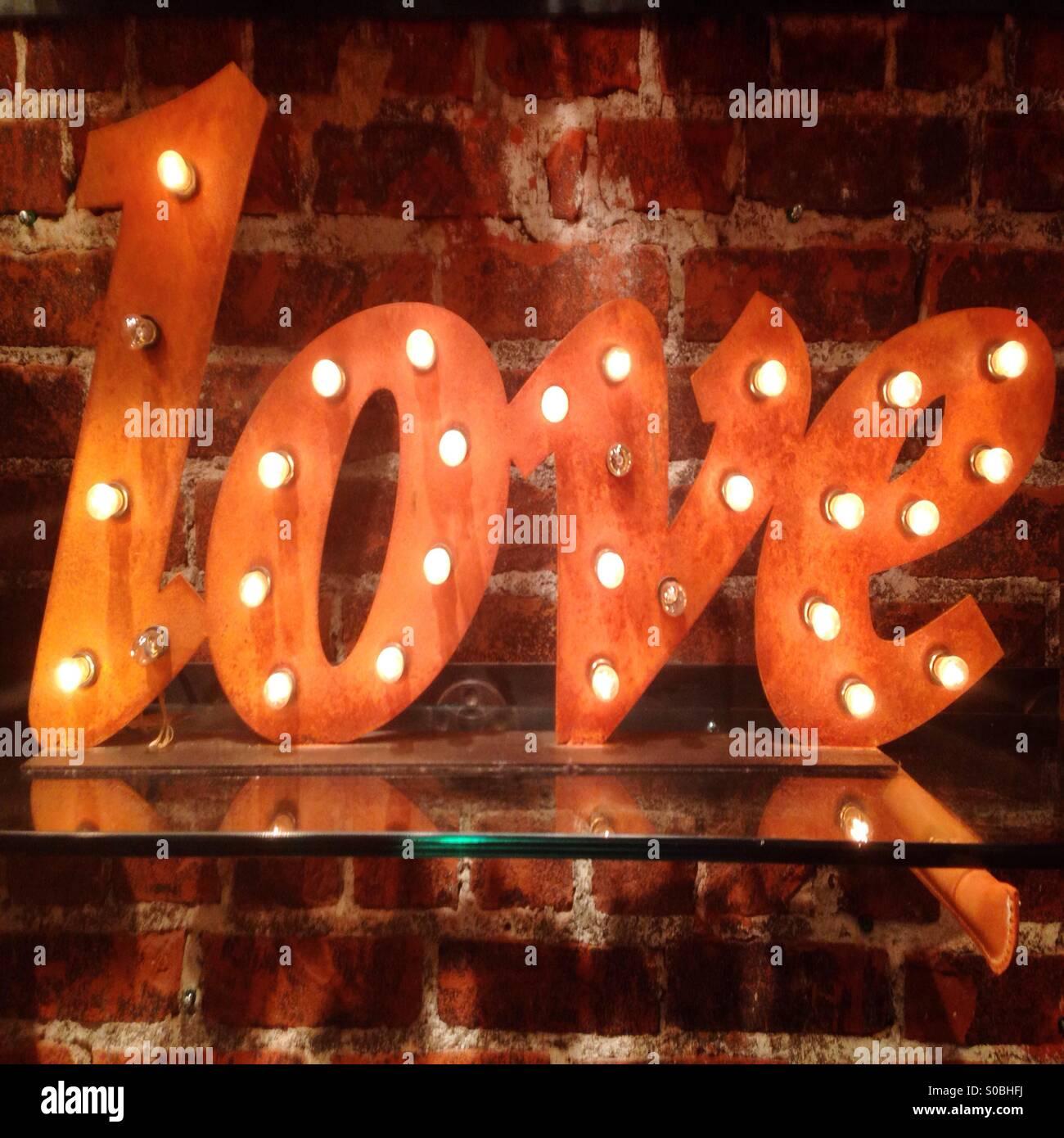 Amour lumière signe Photo Stock