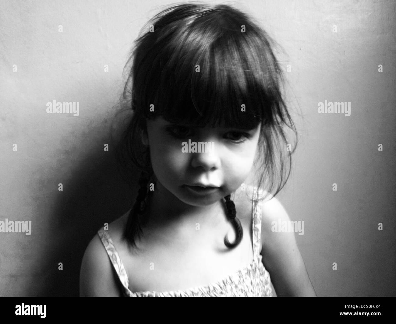 Malheureux 3-year old girl Photo Stock