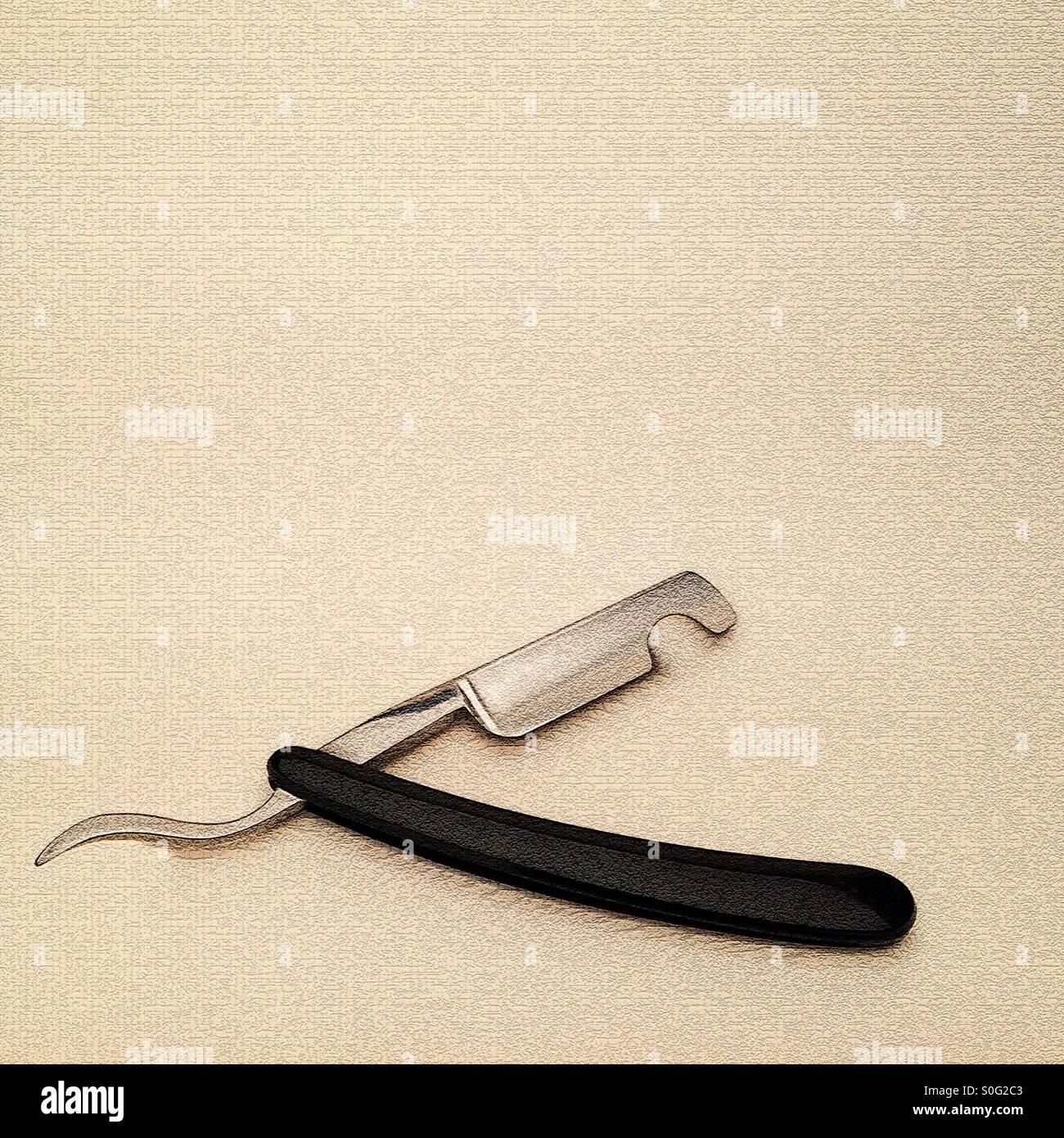 Image manipulée numériquement de rasoir coupe gorge impression artistique donnant d'une sci si punk Photo Stock