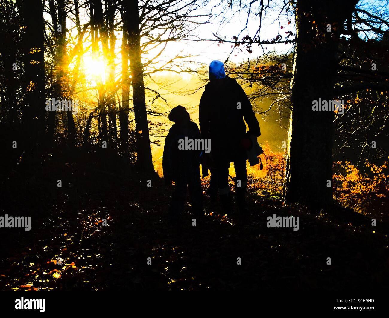 Adulte et enfant sur forêt automne à pied Photo Stock