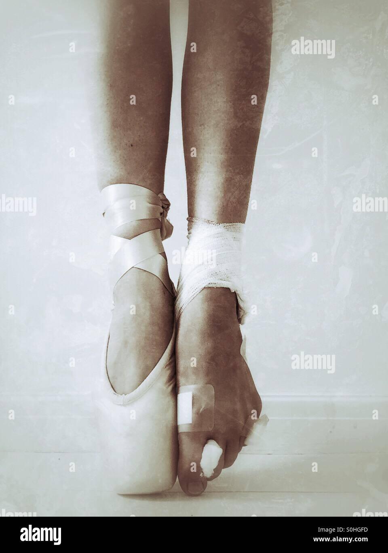 Les pieds des danseurs de ballet Photo Stock