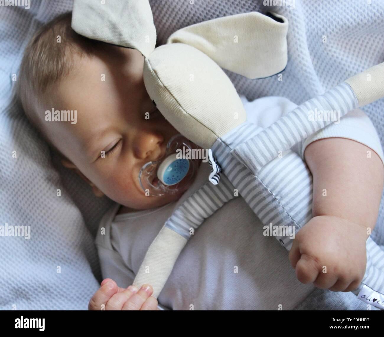 Bébé garçon endormi avec son bunny toy Photo Stock