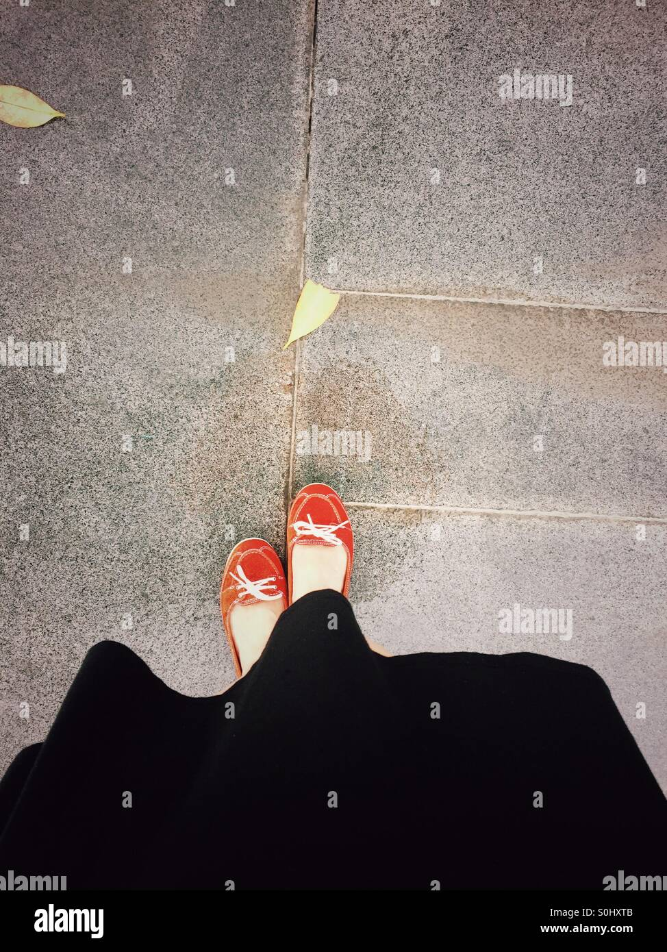 Lady In Red Shoes Photo Stock
