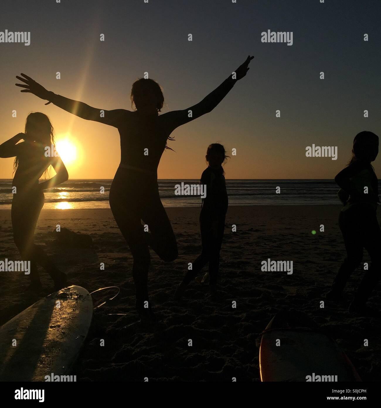 Coucher du soleil la danse de la Côte Ouest Photo Stock