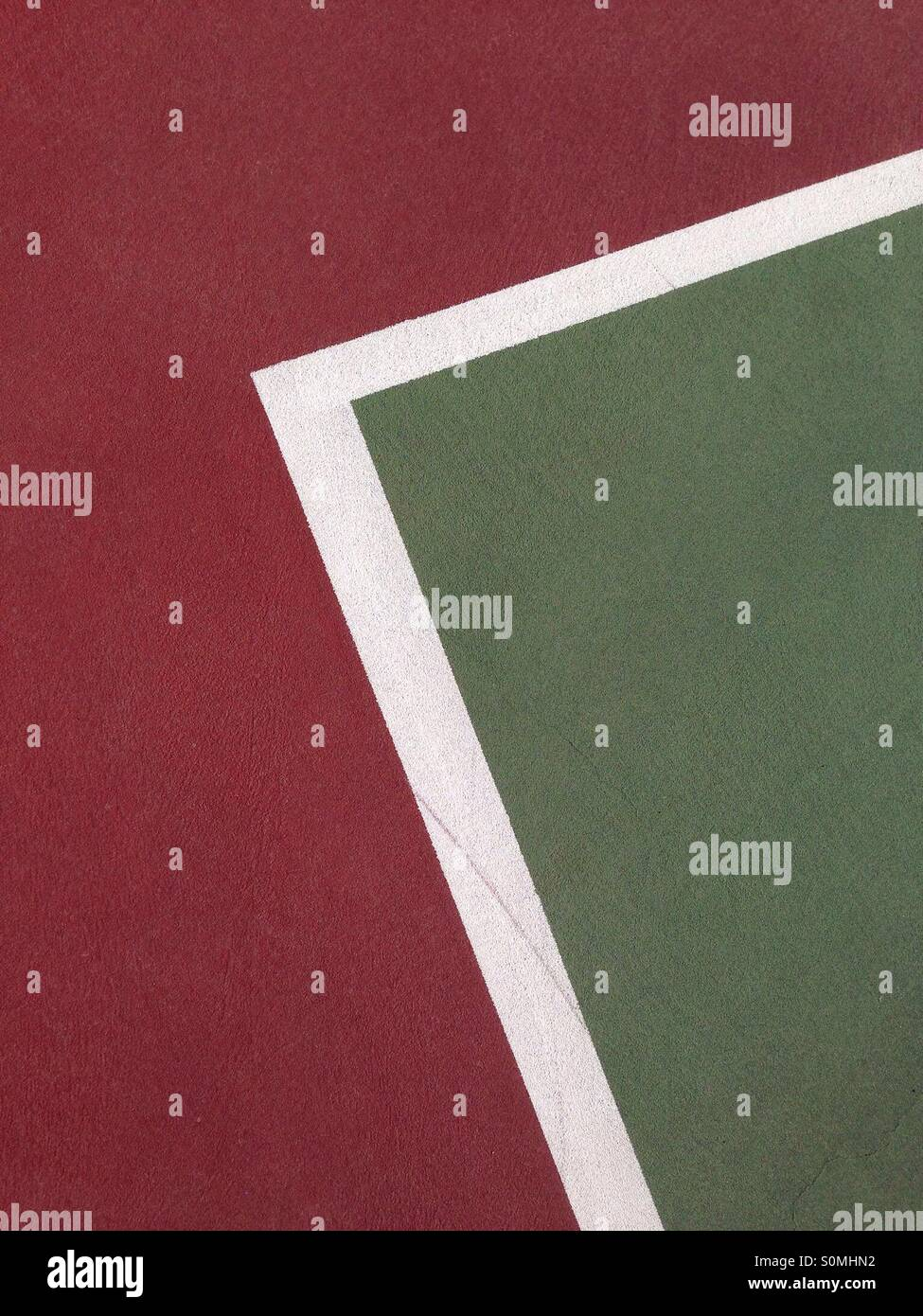 Lignes abstraites sur un court de tennis Photo Stock