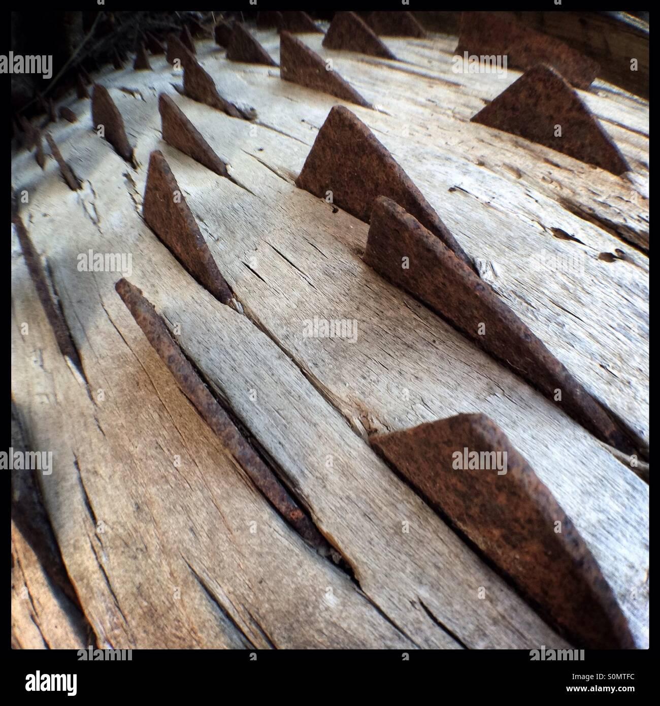 La mise en œuvre de la ferme antique pour le battage du blé, Catalogne, Espagne. Photo Stock