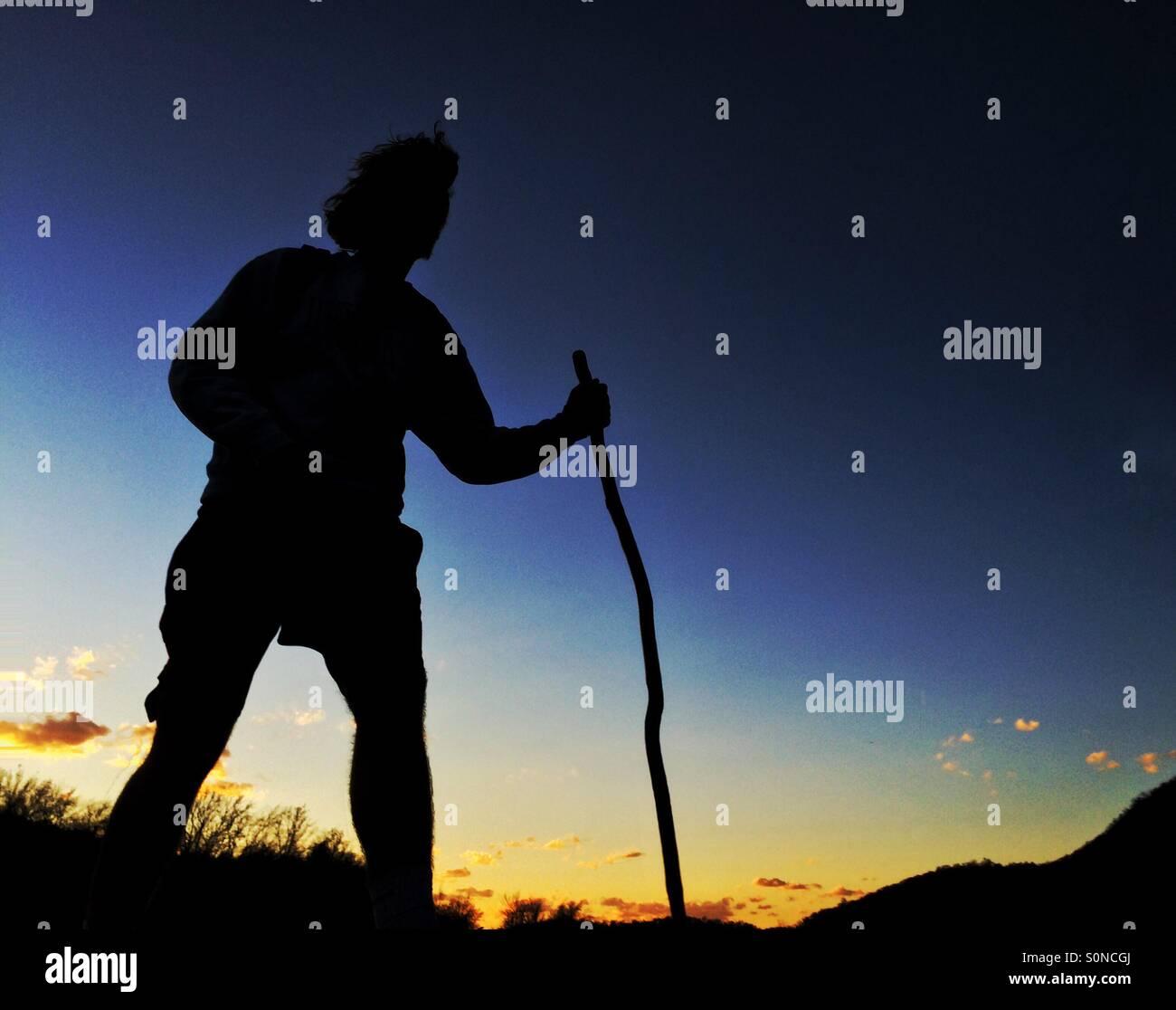 Jeune homme randonnée, Harpers Ferry en Virginie de l'Ouest Photo Stock