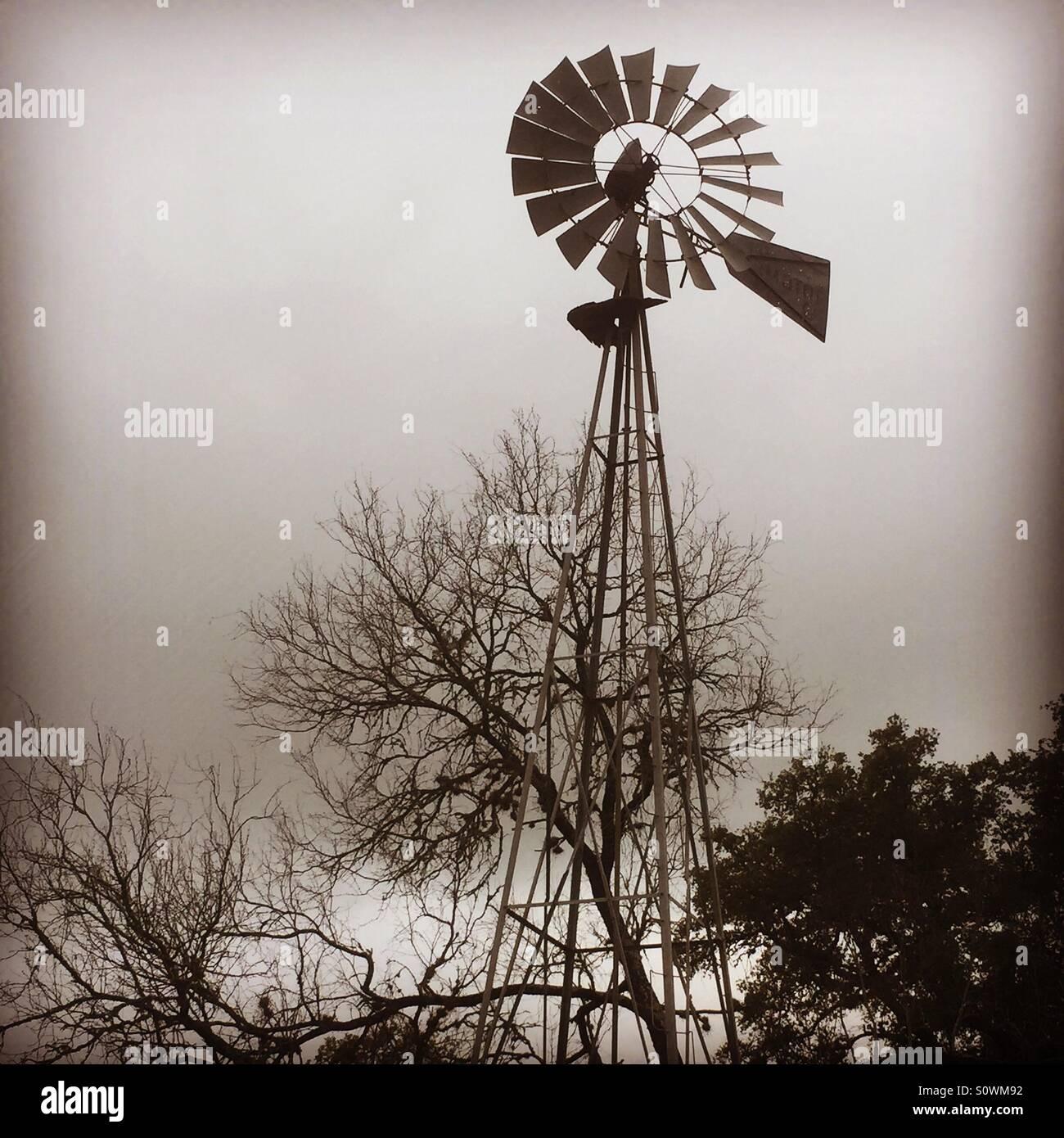 Texas moulin sur une morne jour Photo Stock