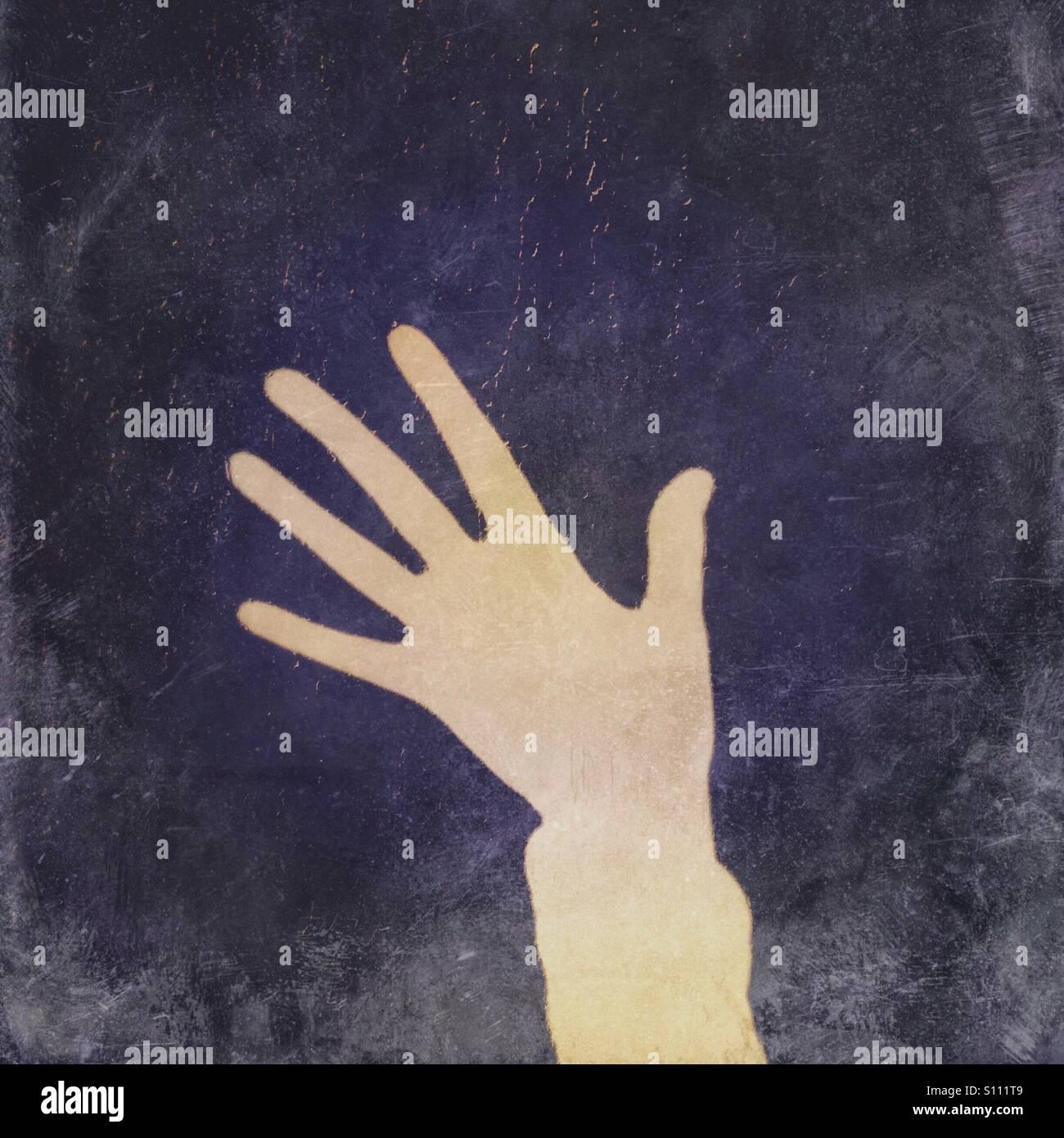 Ombre d'une main montrant cinq doigts Photo Stock