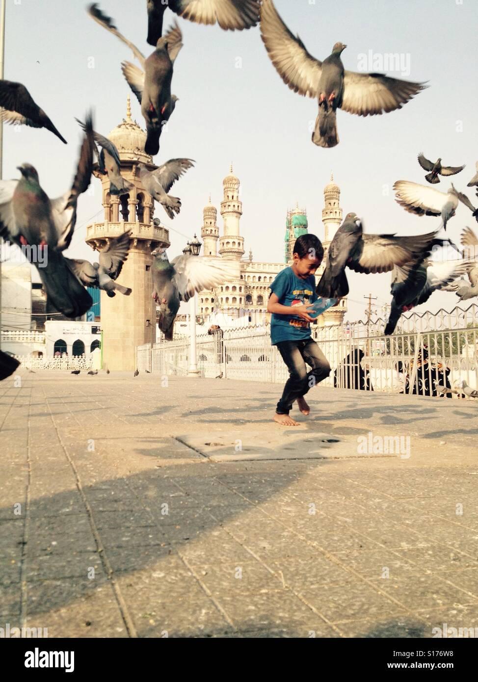 Petit garçon faire fuir les pigeons en face d'une mosquée Photo Stock