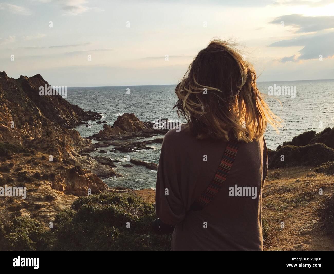 Femme à la mer Photo Stock