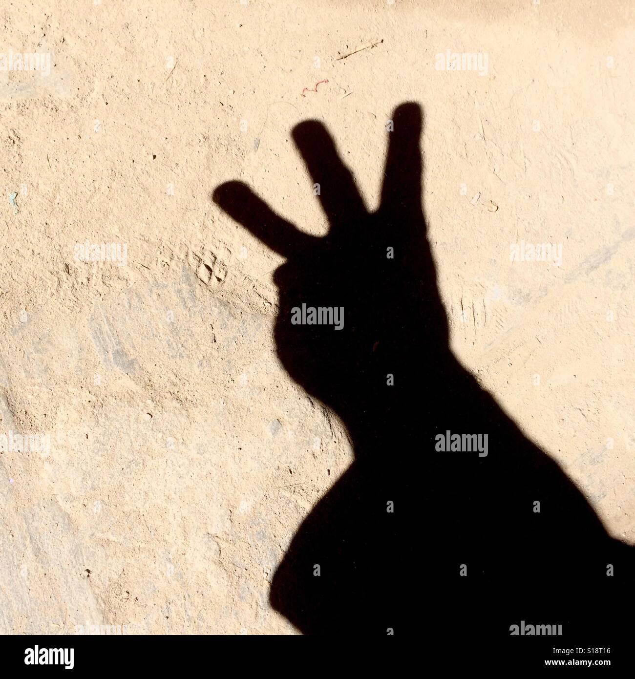 Comptage avec les doigts - trois Photo Stock