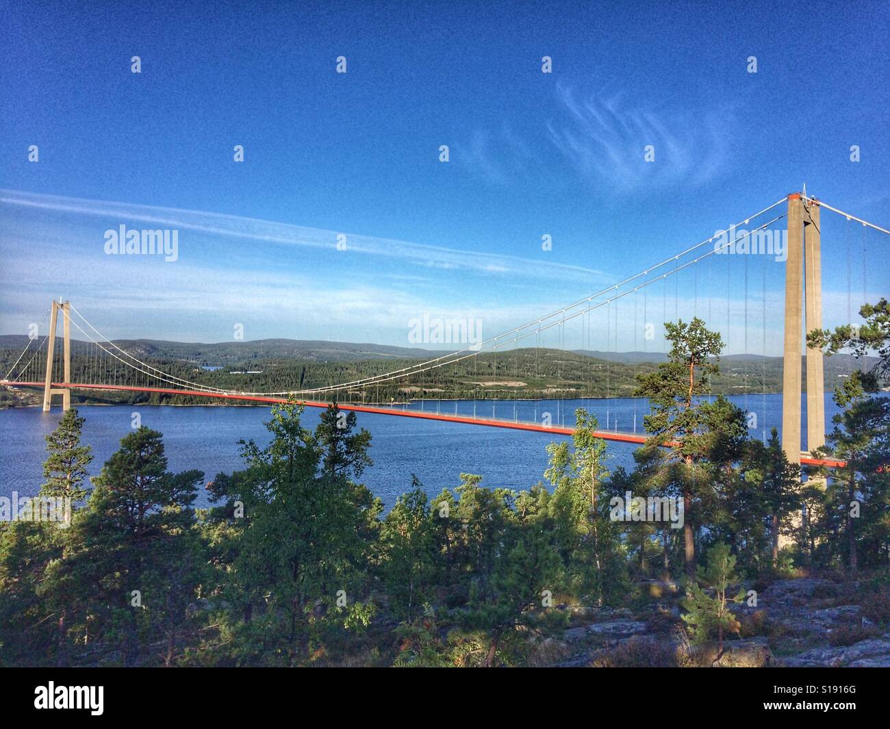 Höga Kusten bridge en Suède Banque D'Images