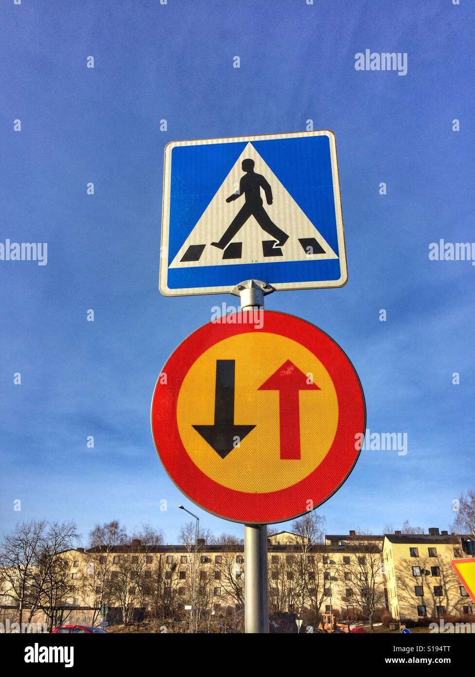 Je Sätra Road sign, Sweden Banque D'Images