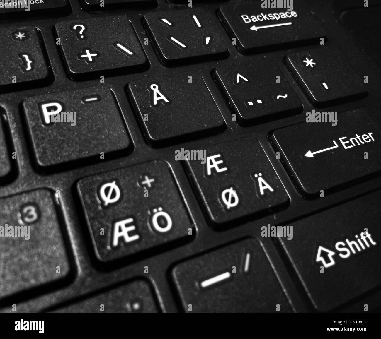 Style nordique clavier ordinateur Banque D'Images
