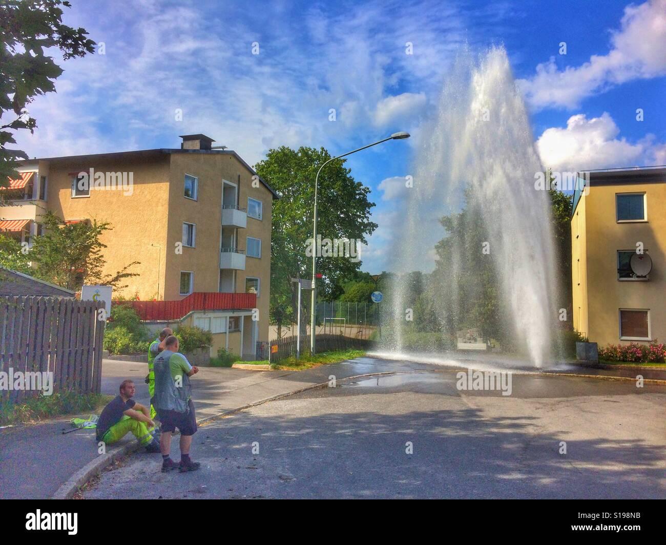 Fuite d'eau spectaculaire de Sätra, Suède. Banque D'Images