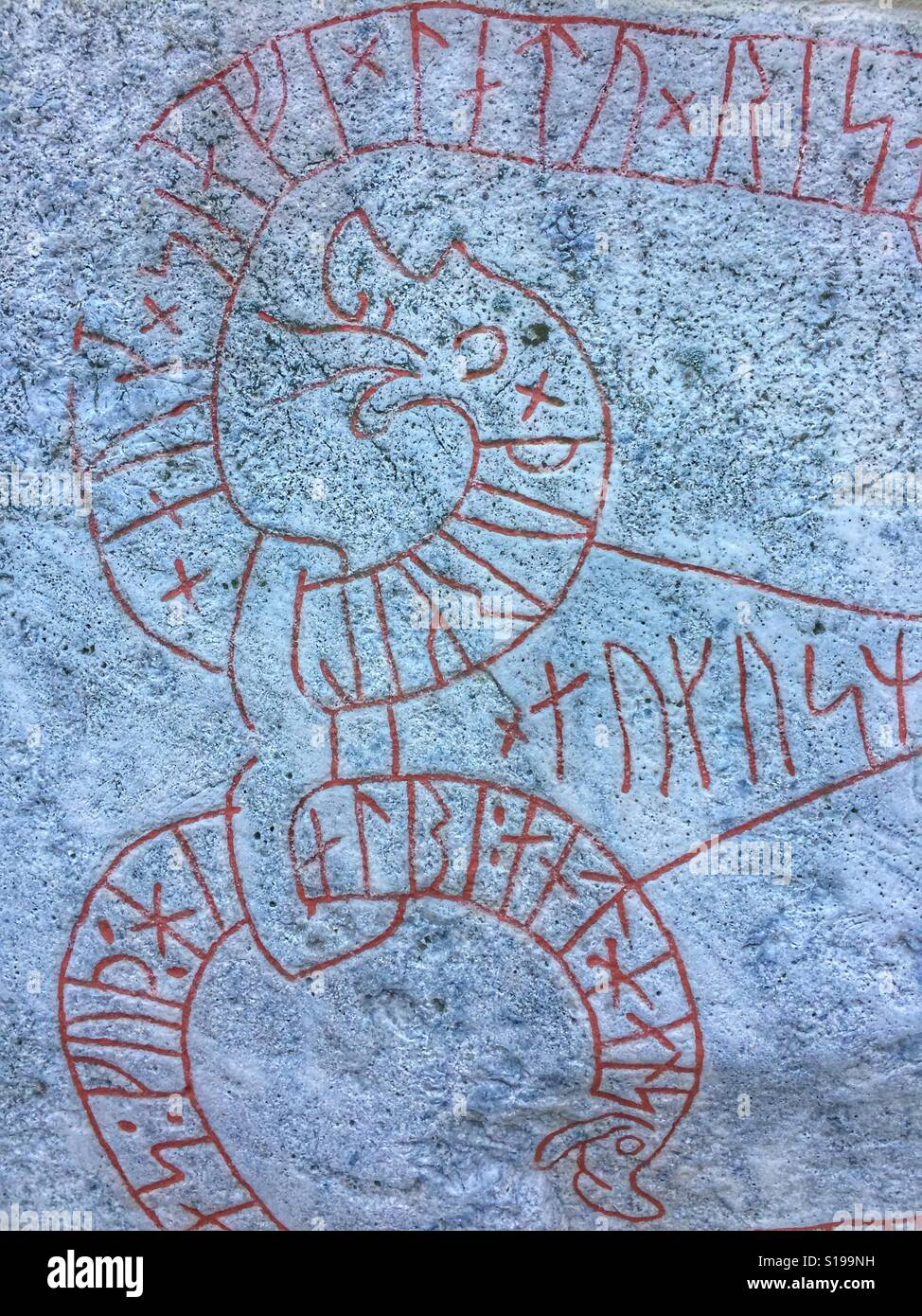 Inscription historique, à l'église de Husby-Ärlinghundra, à l'extérieur de Märsta, Suède. Banque D'Images