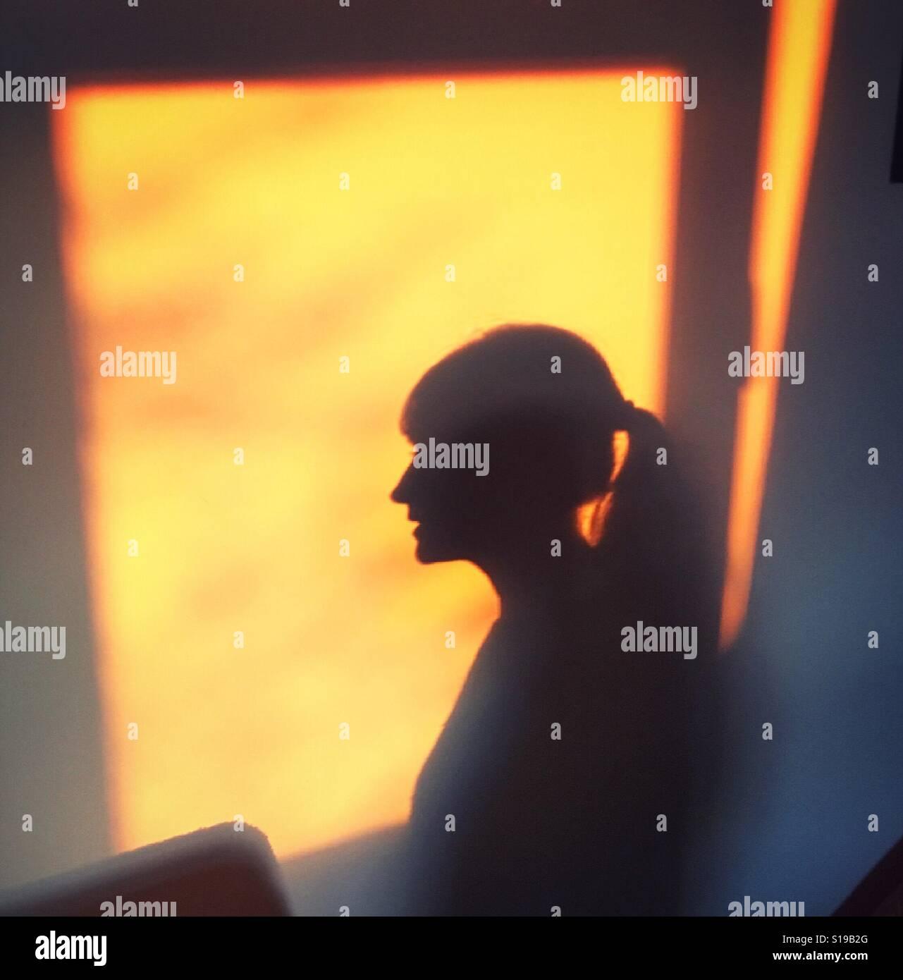 Après-midi silhouette de jeune femme Photo Stock