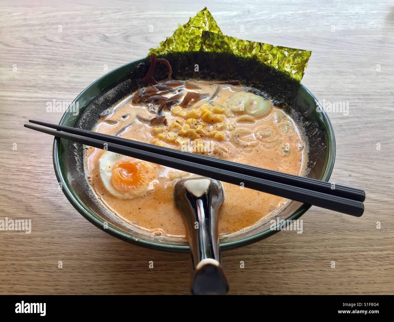 La nourriture japonaise , ramen avec soupe de pommes de terre Photo Stock