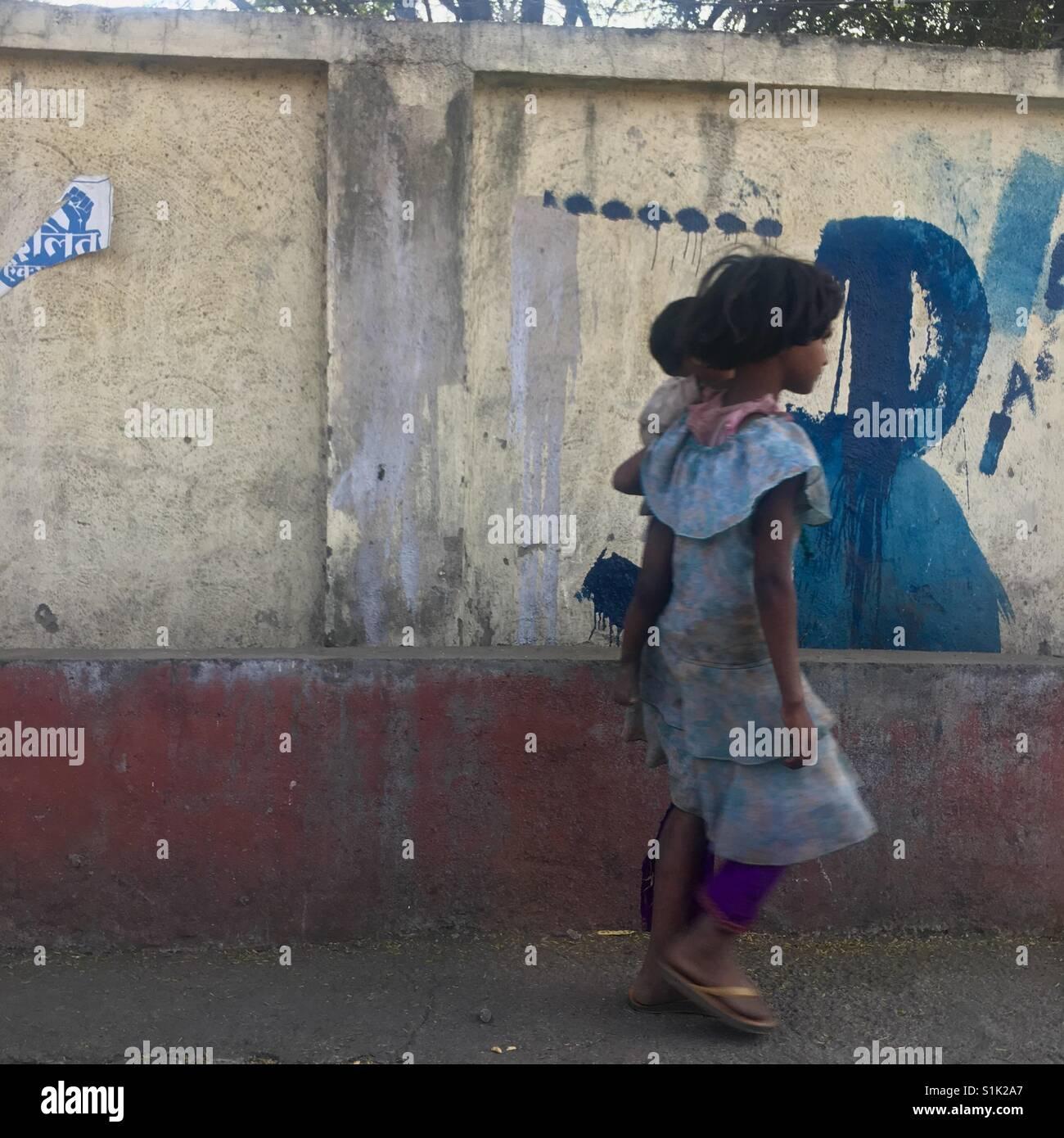 Girl à Pune en Inde Banque D'Images