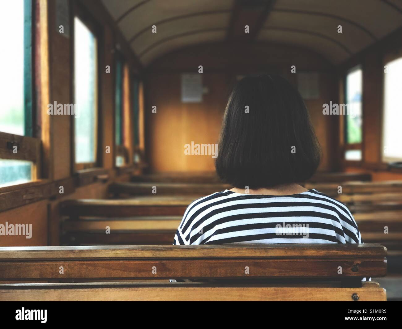 Assis dans un train Photo Stock