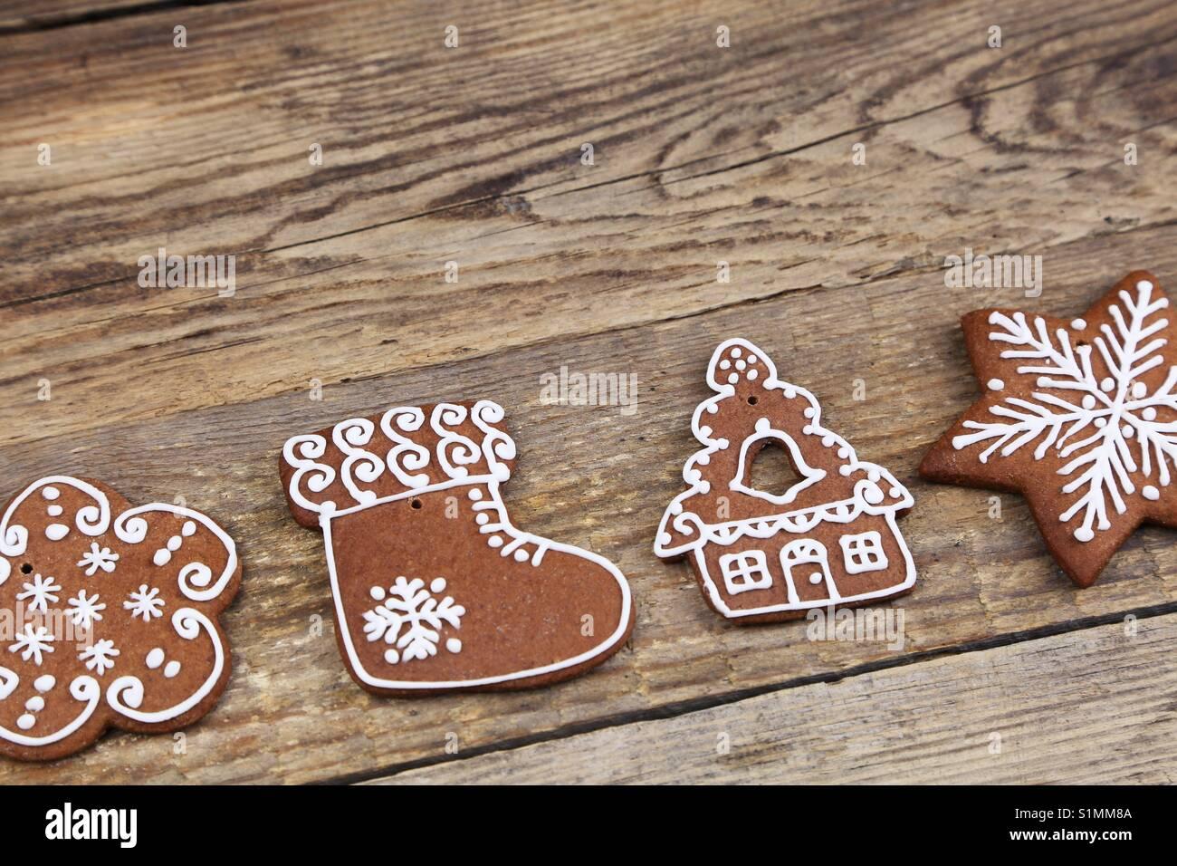 Gingerbread cookies de Noël Photo Stock