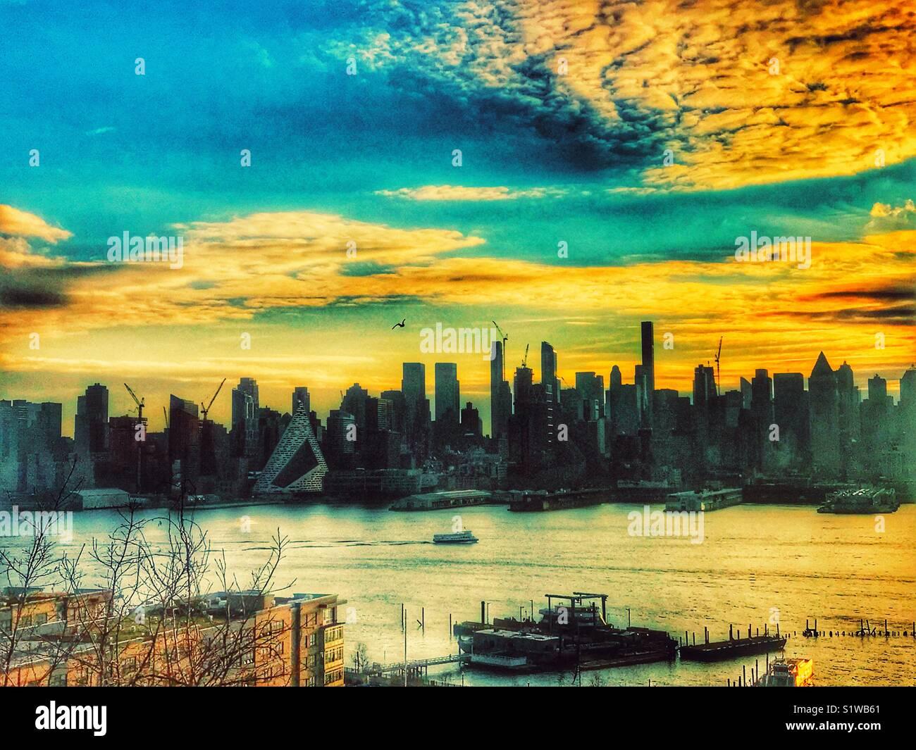 La lumière du matin de la ville de New York Photo Stock