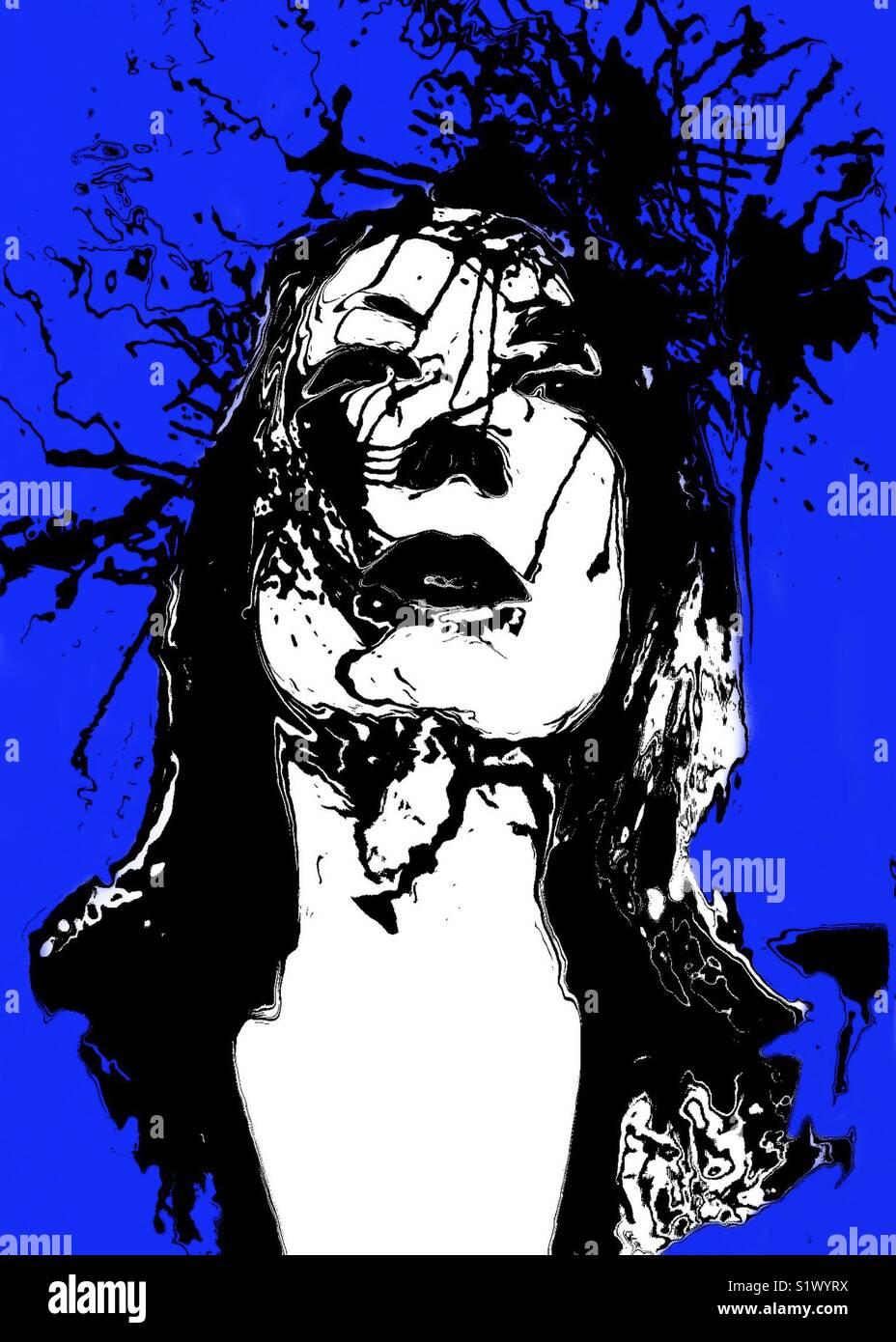 Portrait si une femme avec fond bleu Photo Stock